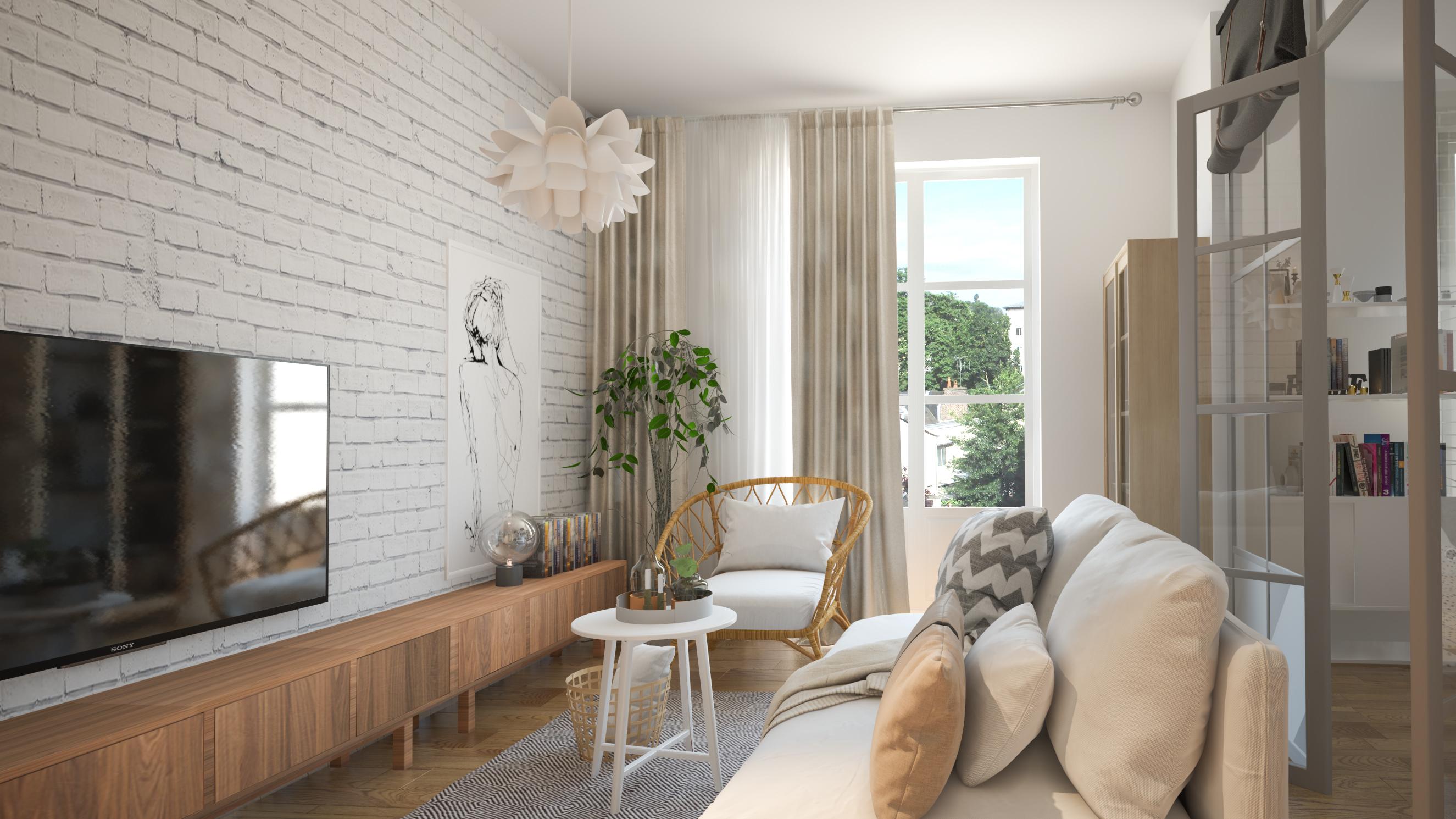 amenajare interioara accente caramida. Black Bedroom Furniture Sets. Home Design Ideas